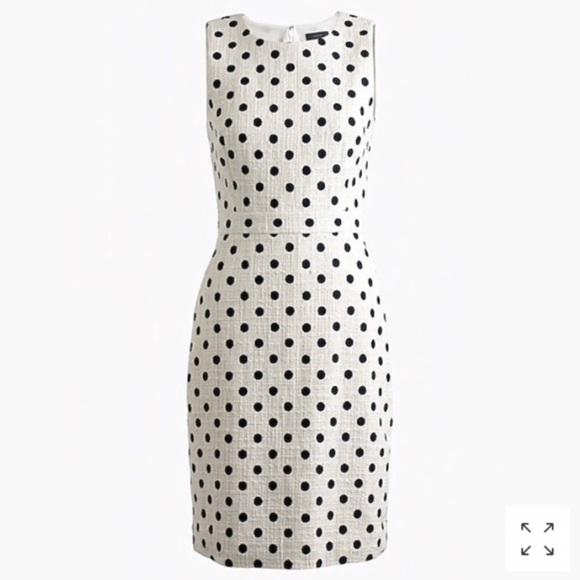 2142969d J. Crew Dresses   J Crew Sheath Dress Polka Dot Textured Tweed ...